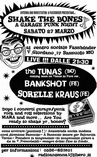 shake the bones: a garage punk night - sabato 27 marzo - Centro Sociale Fassbinder - Sassuolo (MO)